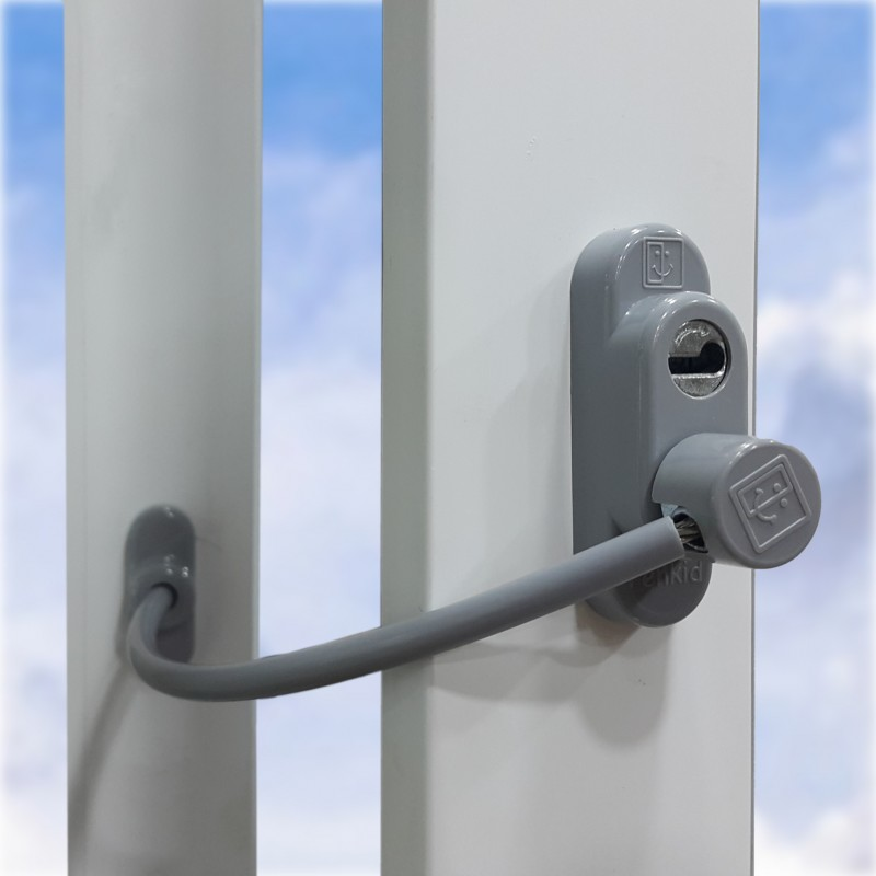 Дополнительный замок окна с ключом, серый