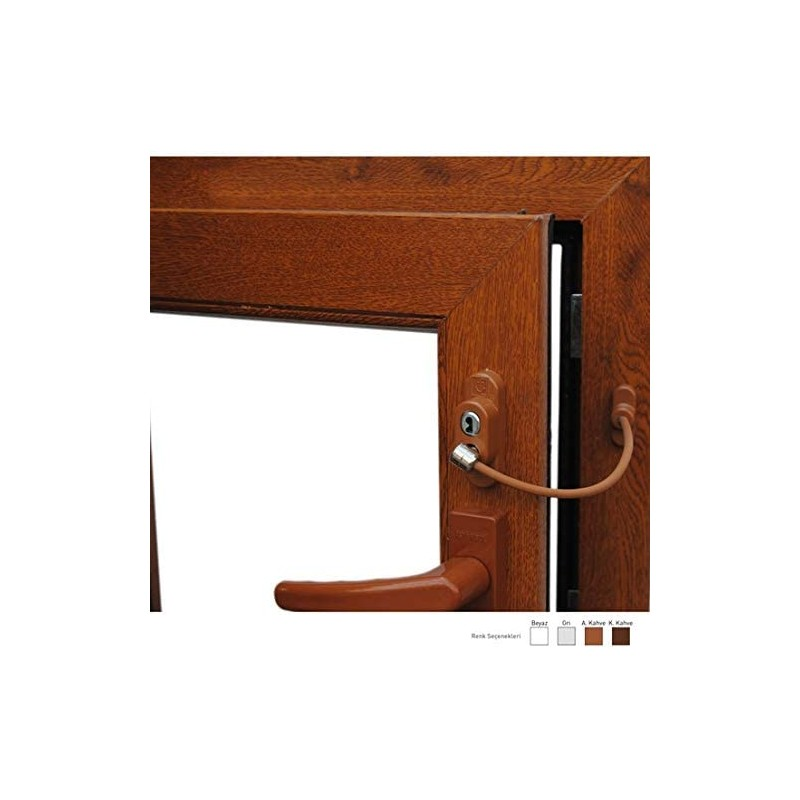 Дополнительный замок окна с ключом, светло-коричневый